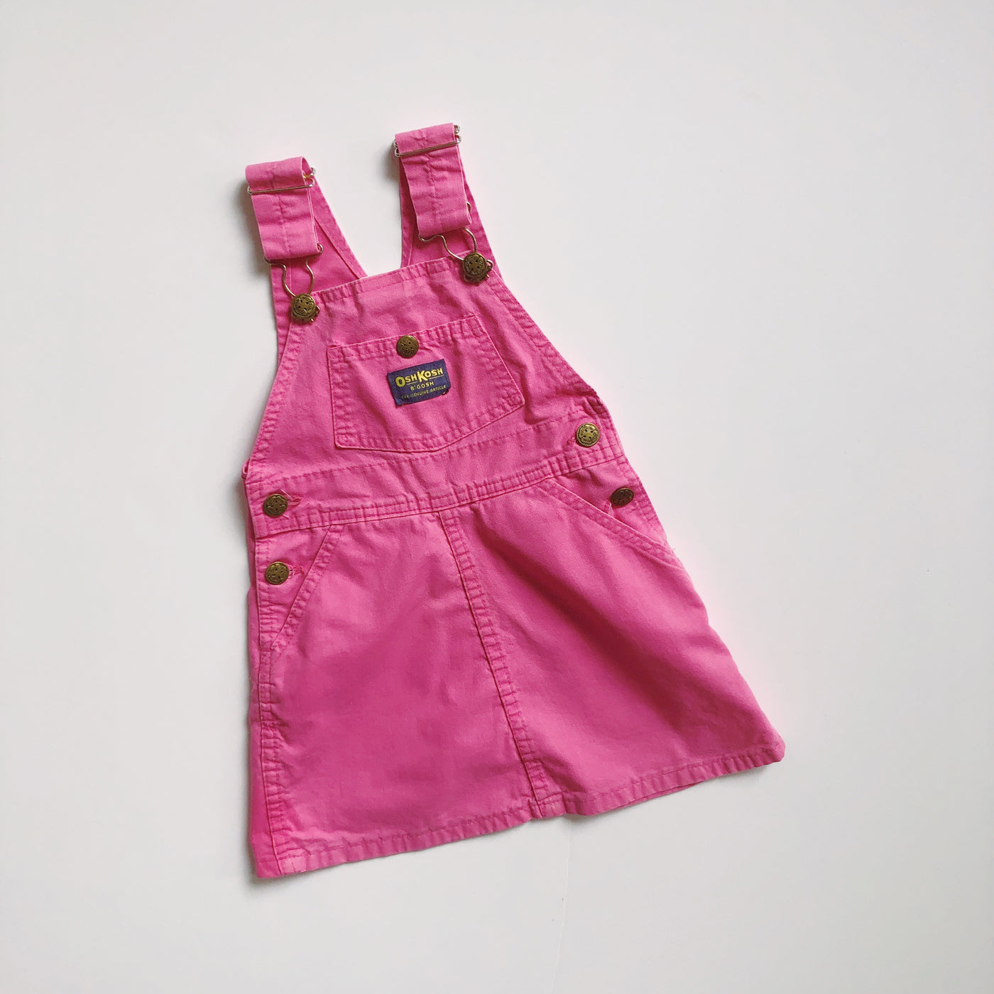 Vintage OshKosh Hot Pink Overall Dress / Size 4T
