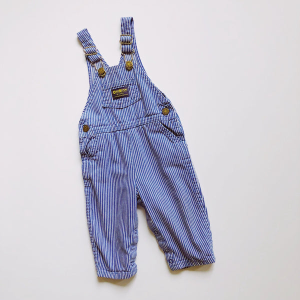 Vintage Oshkosh Engineer Striped Overalls / Size 18M