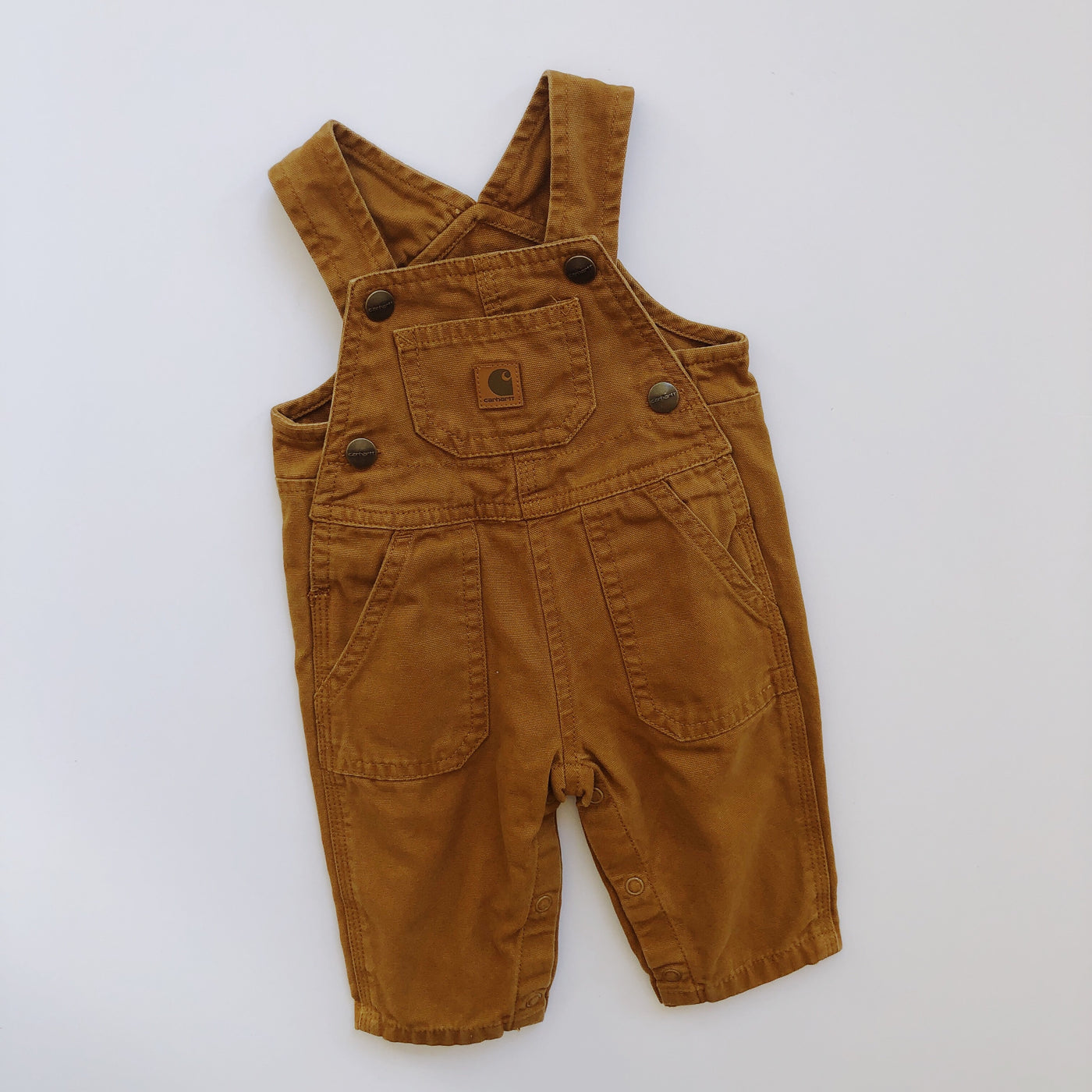 Carhartt Mustardy Brown Canvas Overalls / Size 3M