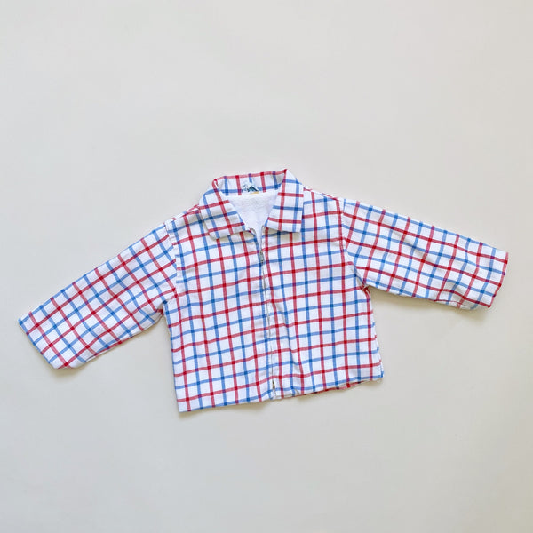 Vintage Blue and Red Checked Jacket / Size 18M