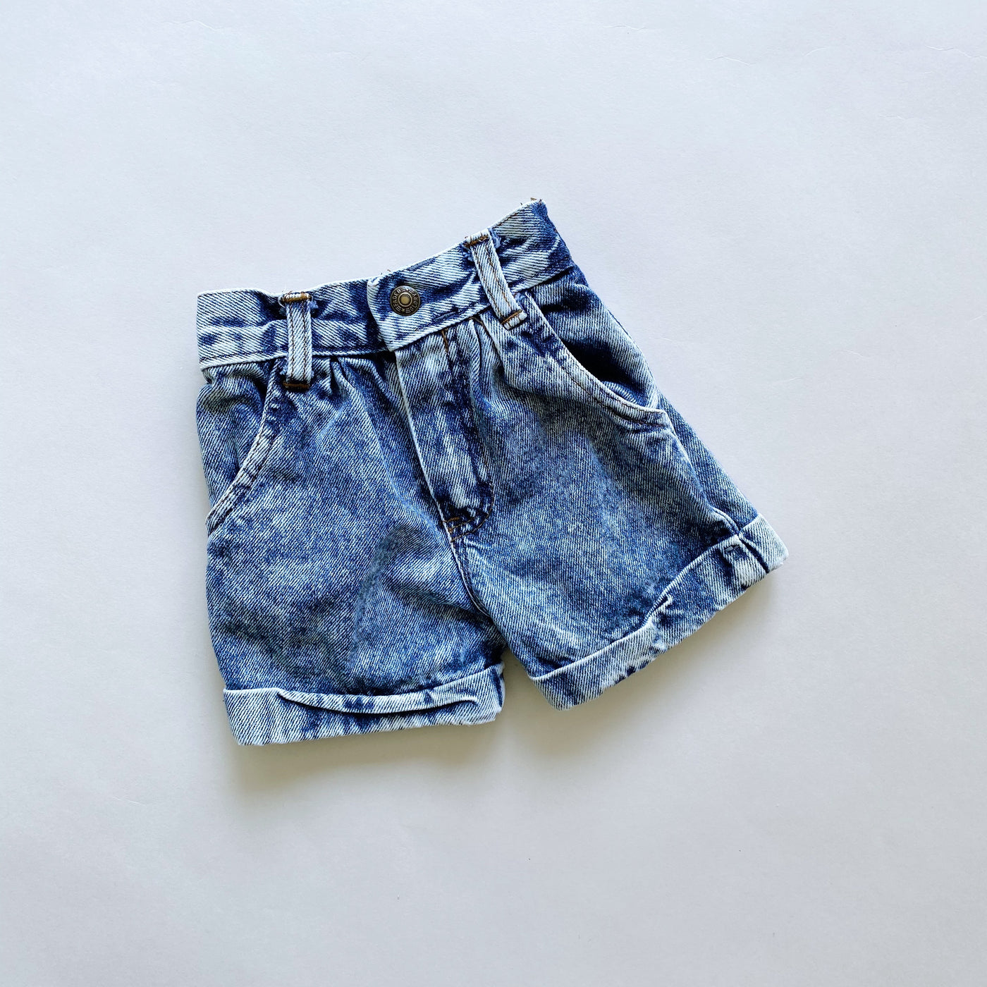 Faded Glory Acid Wash High Waist Jean Shorts / Size 18M