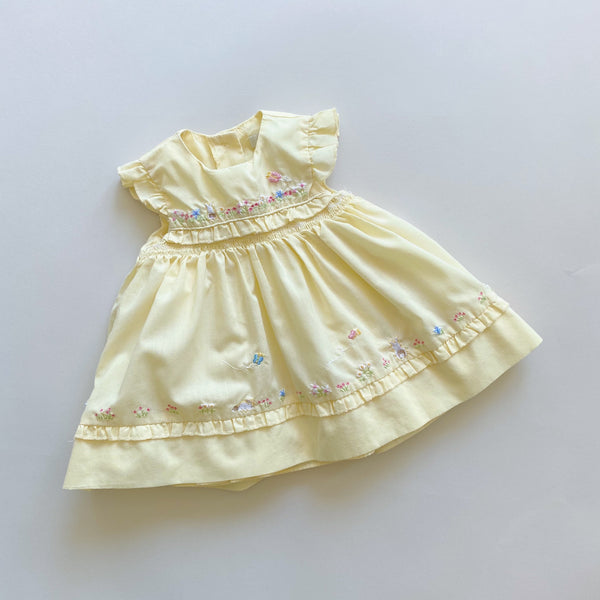 George Pale Yellow Embroidered Dress / Size 6-9M