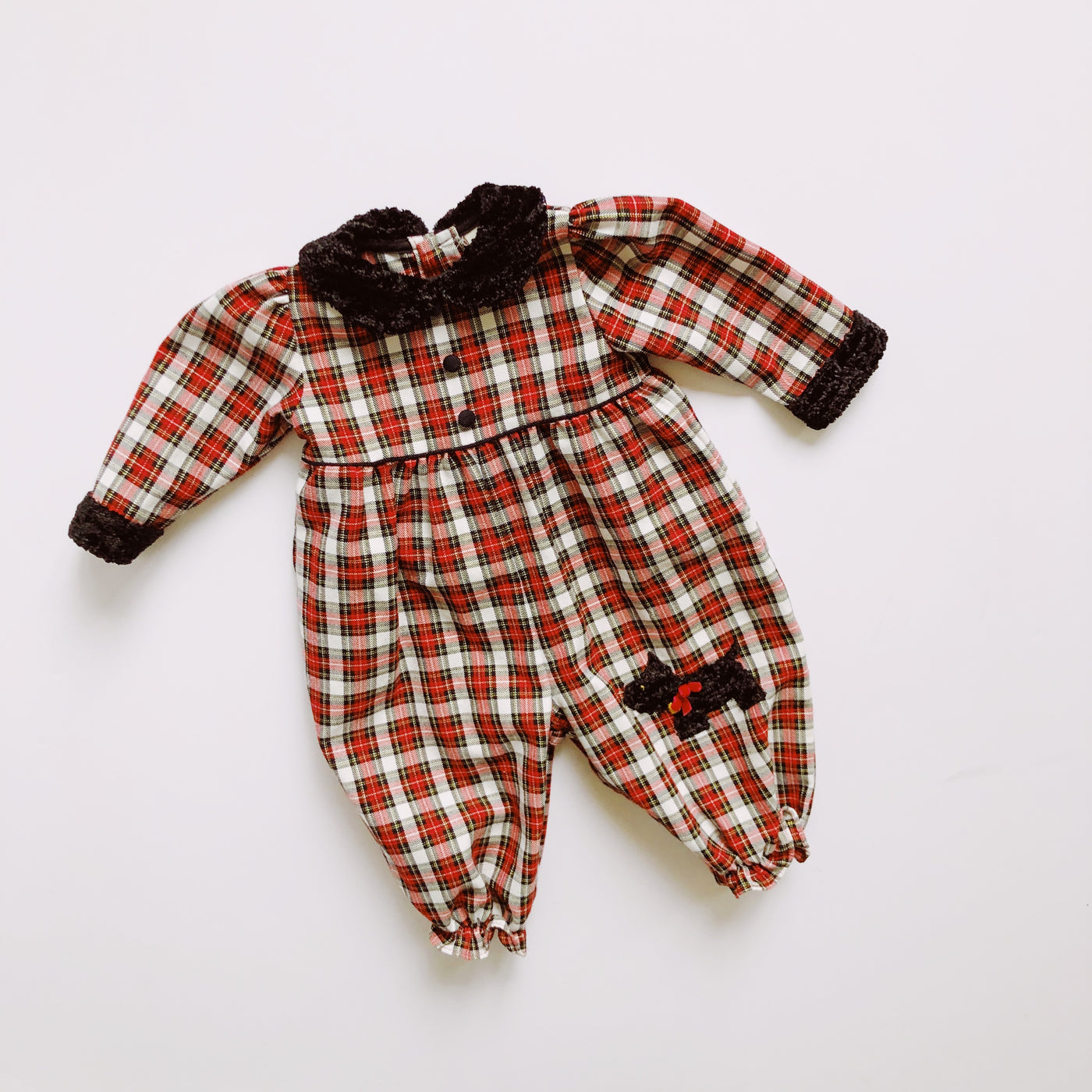 Vintage B.T. Kids Plaid Scottie Dog Romper / Size 6-9M