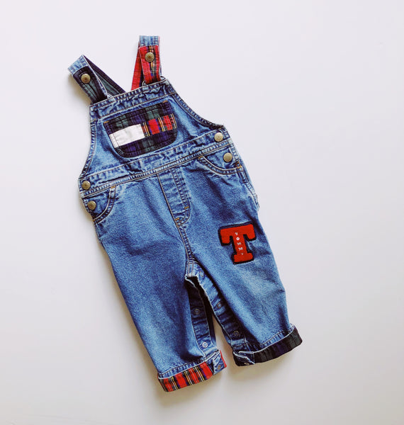 Tommy Hilfiger Denim & Plaid Overalls / Size 6-12M