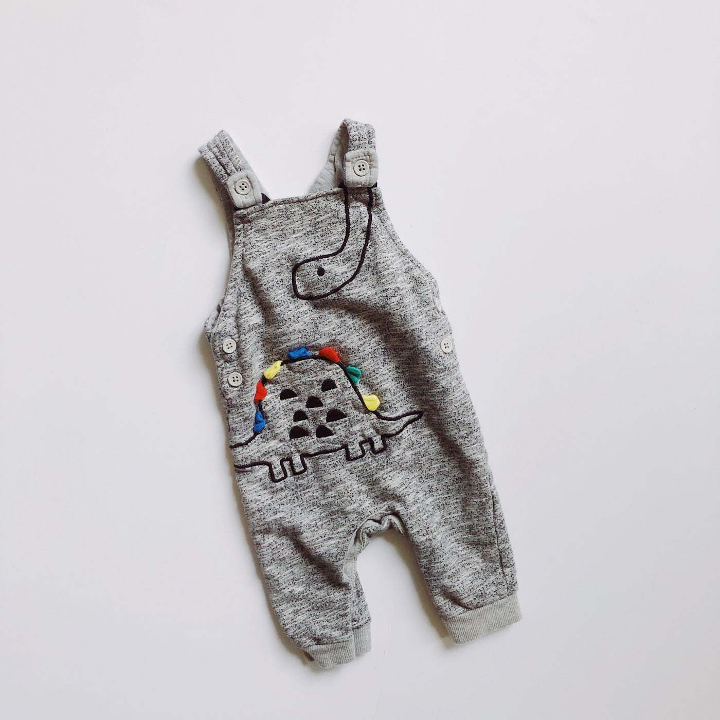Heather Grey Cotton Dinosaur Romper / Size 6M