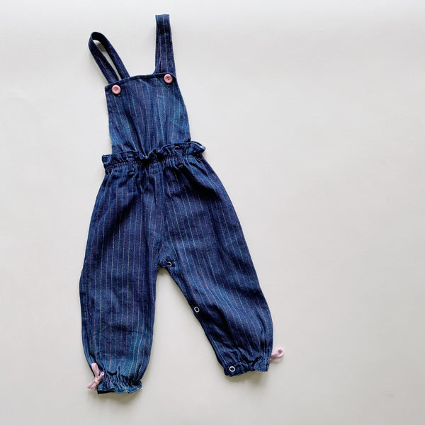 Dark Denim Cinched and Striped Overalls / Size 24M