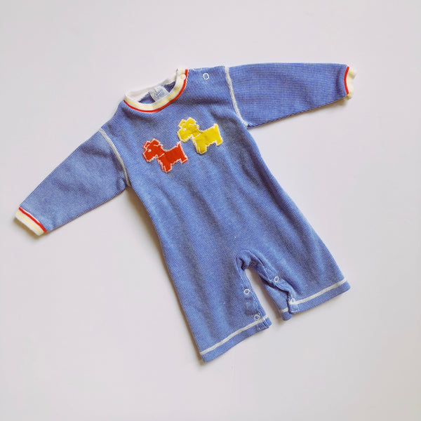 Vintage Carter's Blue Scottie Dog Romper / Size 6M