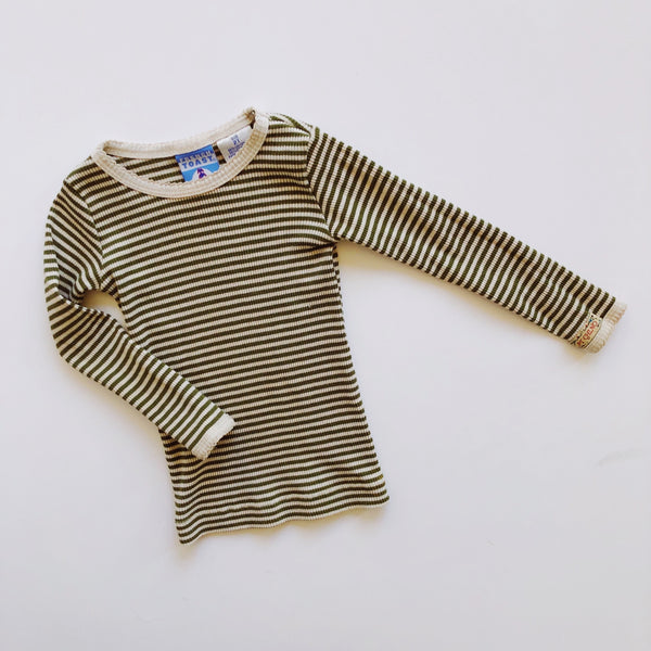 French Toast Hunter Green Striped Thermal / Size 2T