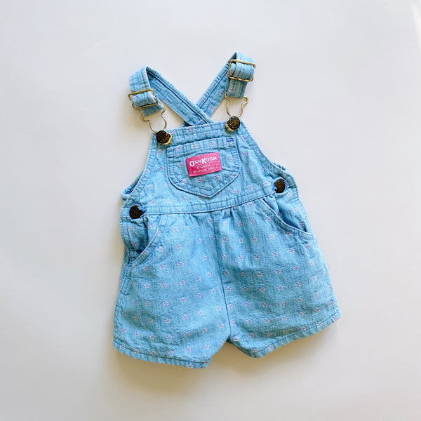Vintage OshKosh Patterned Shortalls / Size 6-9M