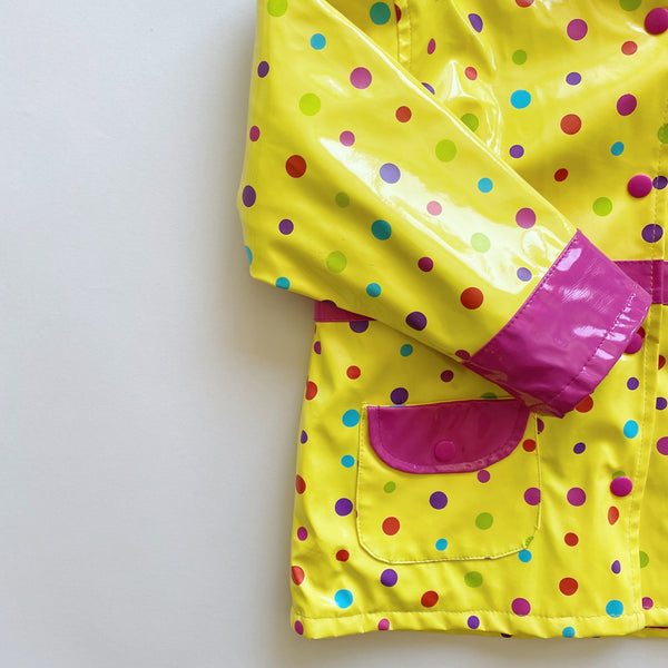 Yellow Polka Dot Rain Slicker / Size 5-6T