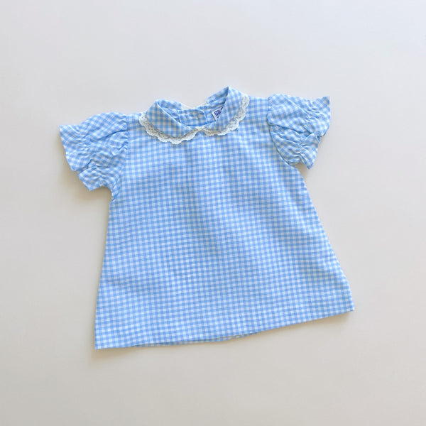 Vintage Blue Checkered Top / Size 3-6M