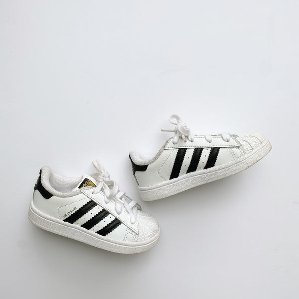 Adidas Superstar Black Striped Sneakers / Toddler 7