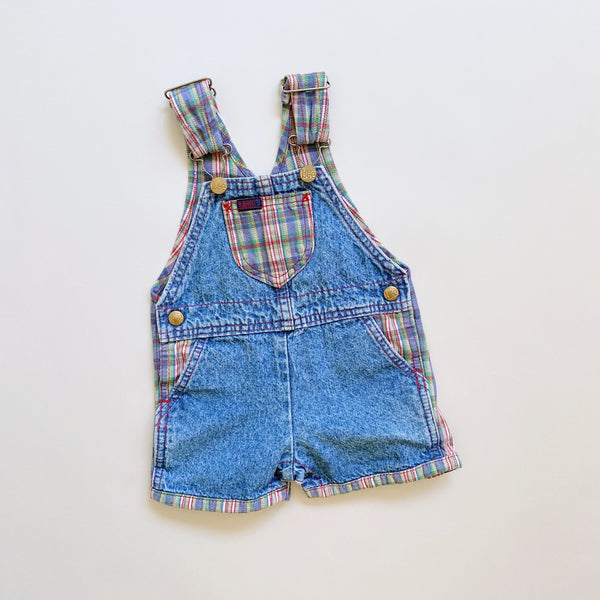 Lee Denim & Plaid Shortalls / Size 12-18M