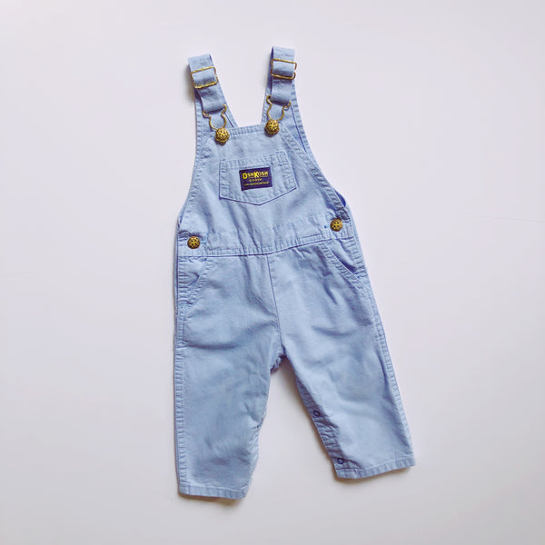Vintage OshKosh Oxford Blue Overalls / Size 18M