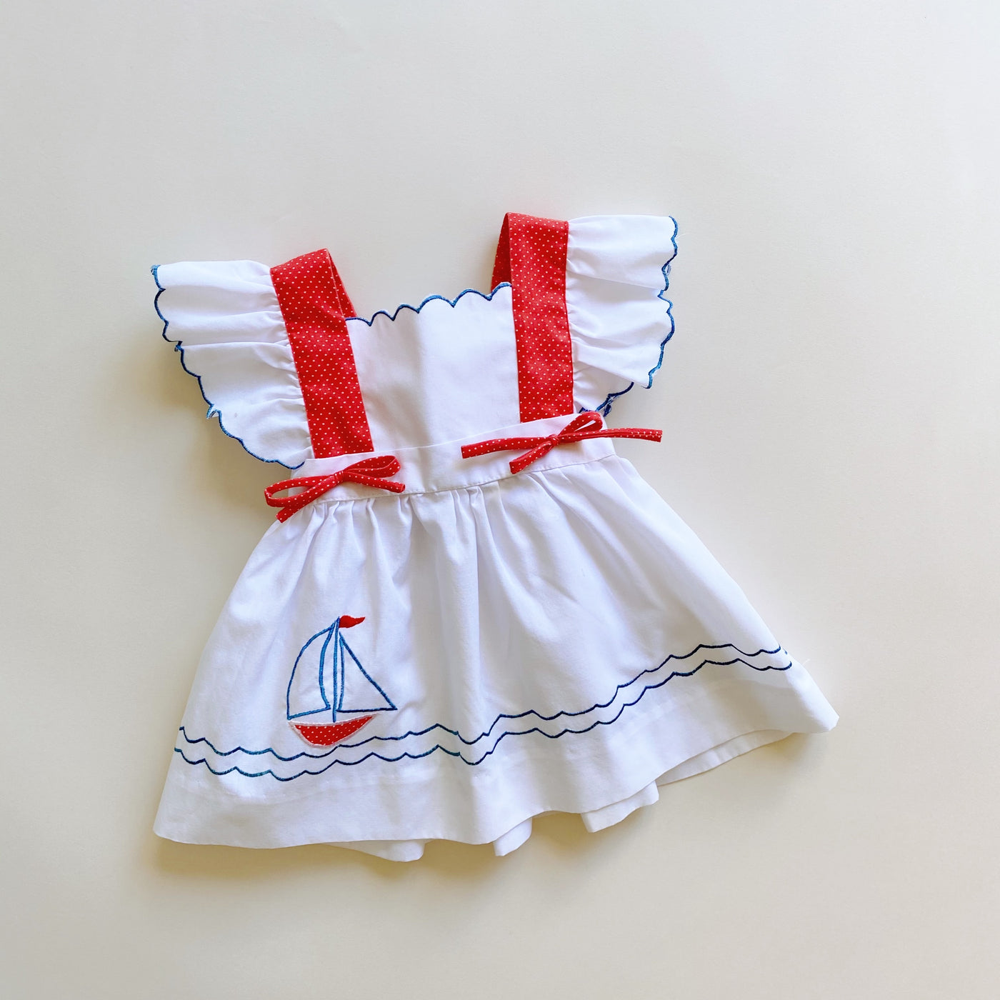 Vintage Nautical Pinafore Dress / Size 9M