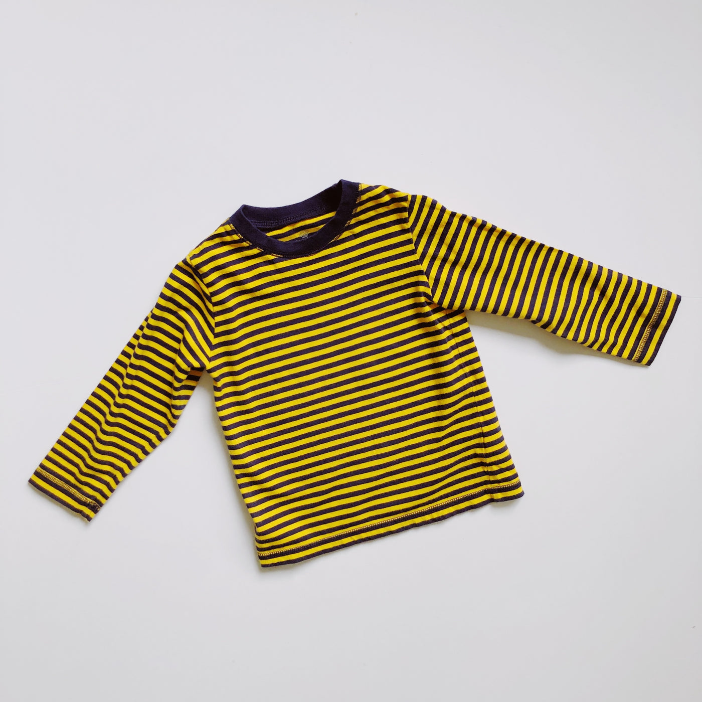 Navy & Gold Striped Long-Sleeve Tee / Size 3T