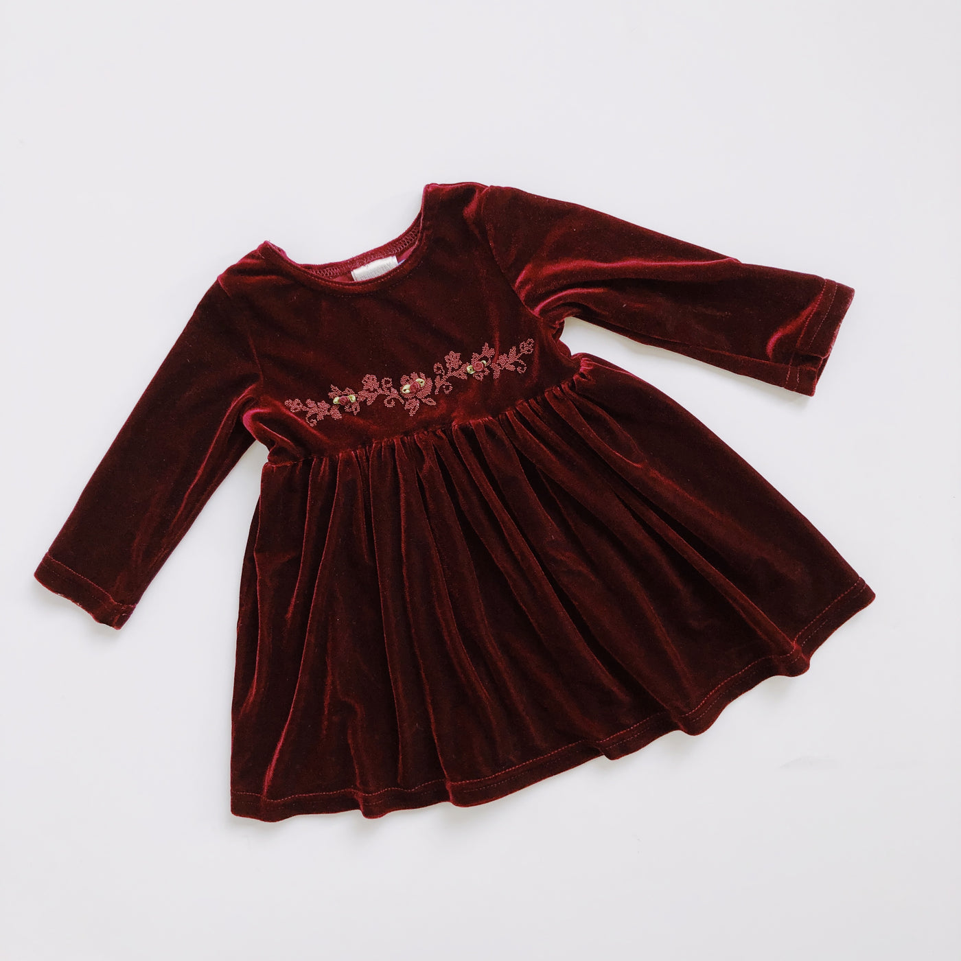 Vintage Perfectly Dressed Maroon Velvet Party Dress / Size 2T