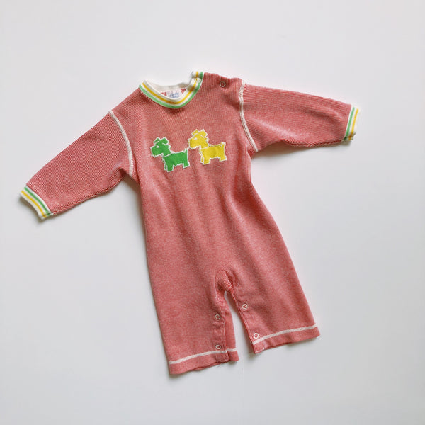 Vintage Carter's Red Scottie Dog Romper / Size 12M