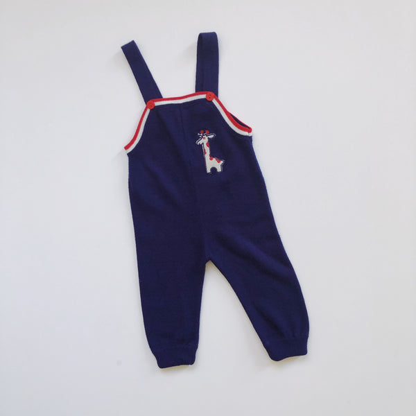 Vintage Knit Giraffe Overall Romper / Size 24M