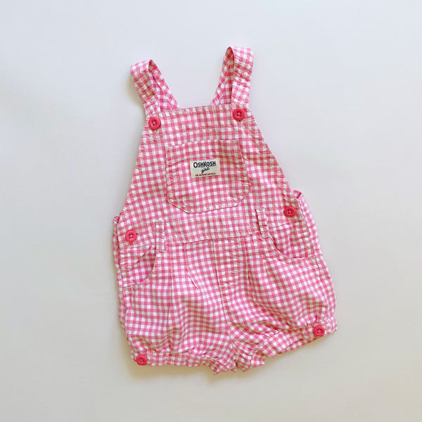 OshKosh Pink Gingham Shortalls / Size 24M