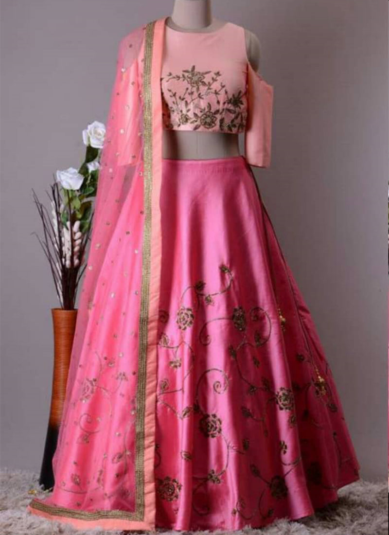 Exclusive Heavy Designer Beautiful Pink Color Party Wear Lehenga Choli - Stylizone