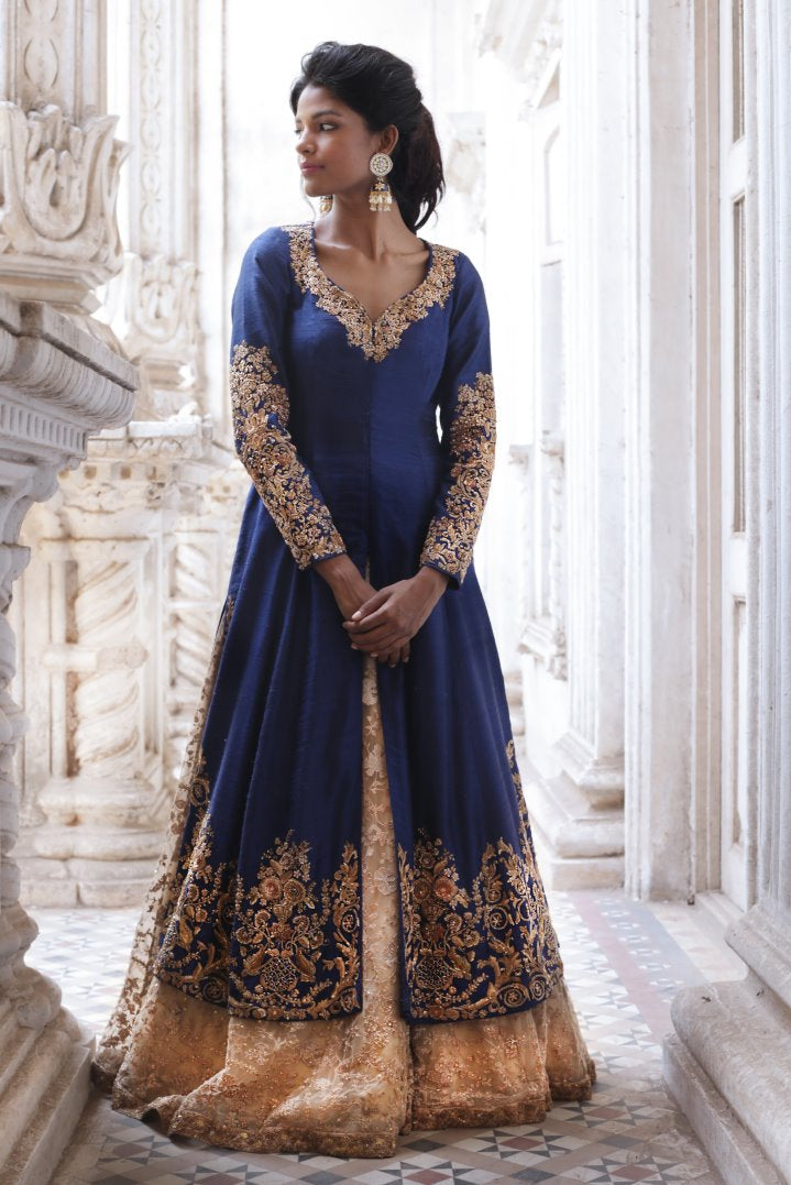 Beautiful Exclusive Designer Blue and Beige Color Designer Dress-STYLIZONE