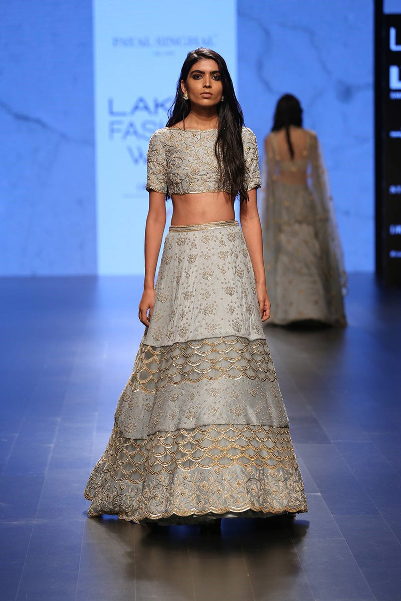 Blue pearl and mukaish work peek-a-boo lehenga set