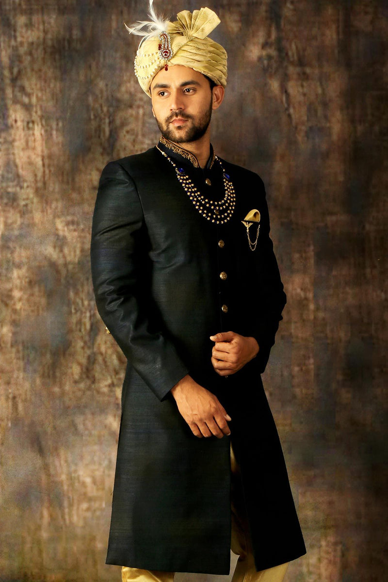Black & Gold Dual Tone Raw Silk Zari Embroidered Indowestern Sherwani-STYLIZONE