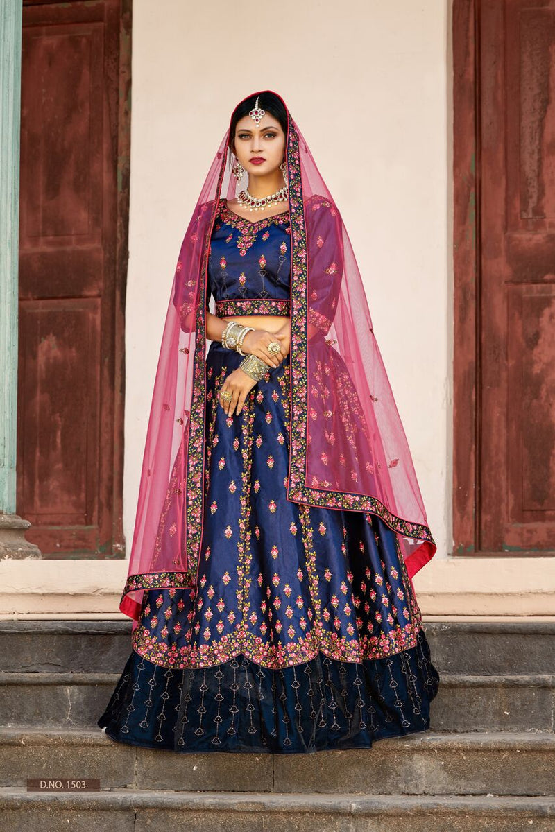 Exclusive Designer Beautiful Navy Blue Color Bridal Lehenga Choli-STYLIZONE
