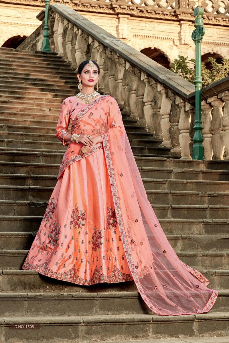 Exclusive Designer Beautiful Peach Color Bridal Lehenga Choli-STYLIZONE