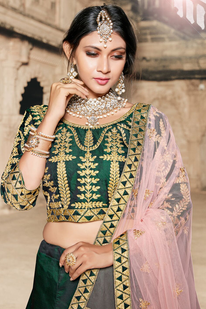 Exclusive Designer Beautiful Green Color Bridal Lehenga Choli-STYLIZONE
