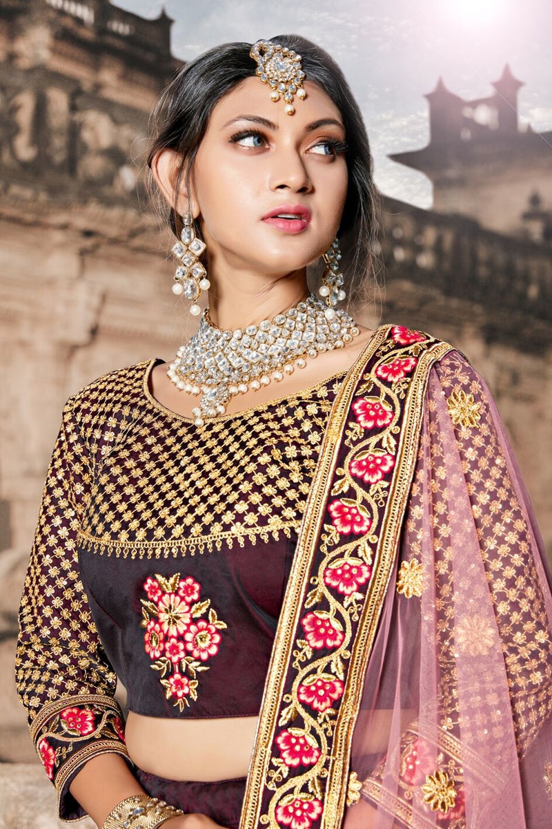 Exclusive Designer Beautiful Wine Color Bridal Lehenga Choli-STYLIZONE