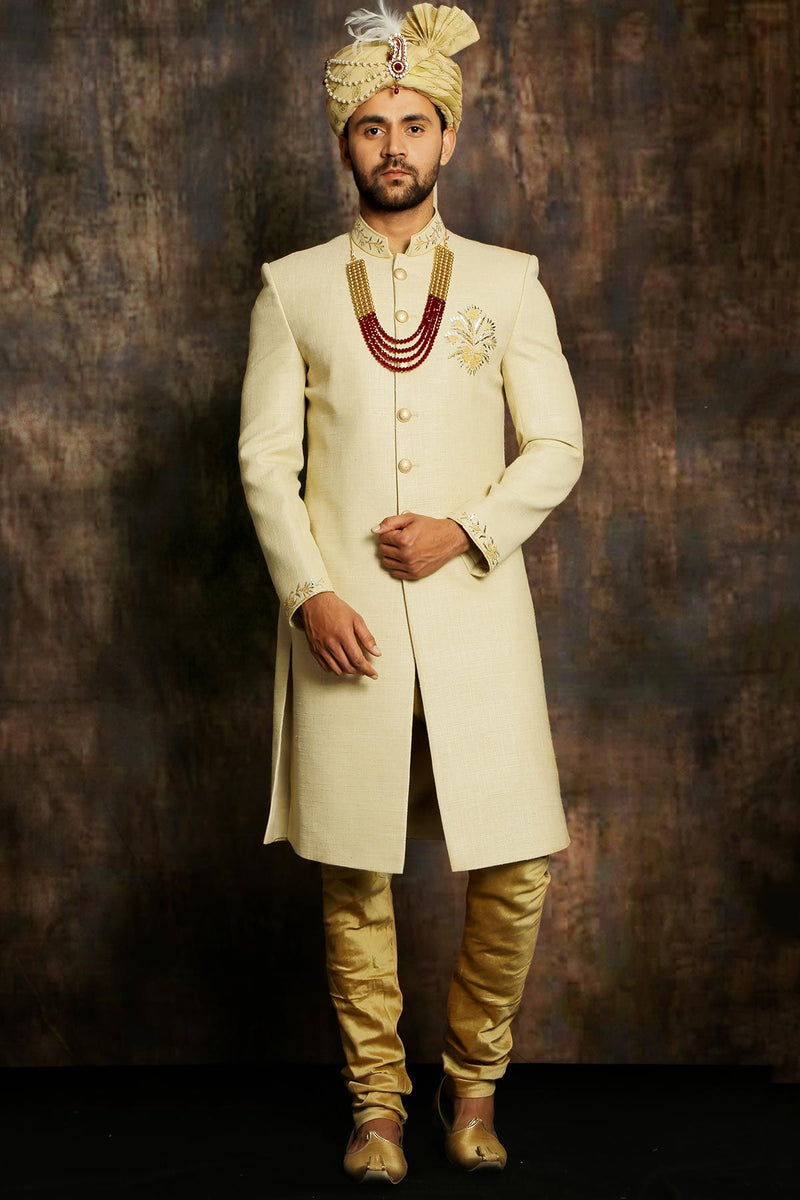 Tan Brown Raw Silk Zari Embroidered Indowestern Sherwani-STYLIZONE