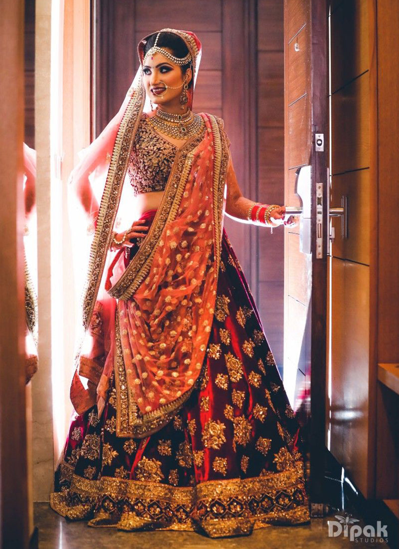 A105-Exclusive Heavy Designer Beautiful Maroon Color Bridal Lehenga Choli - Stylizone
