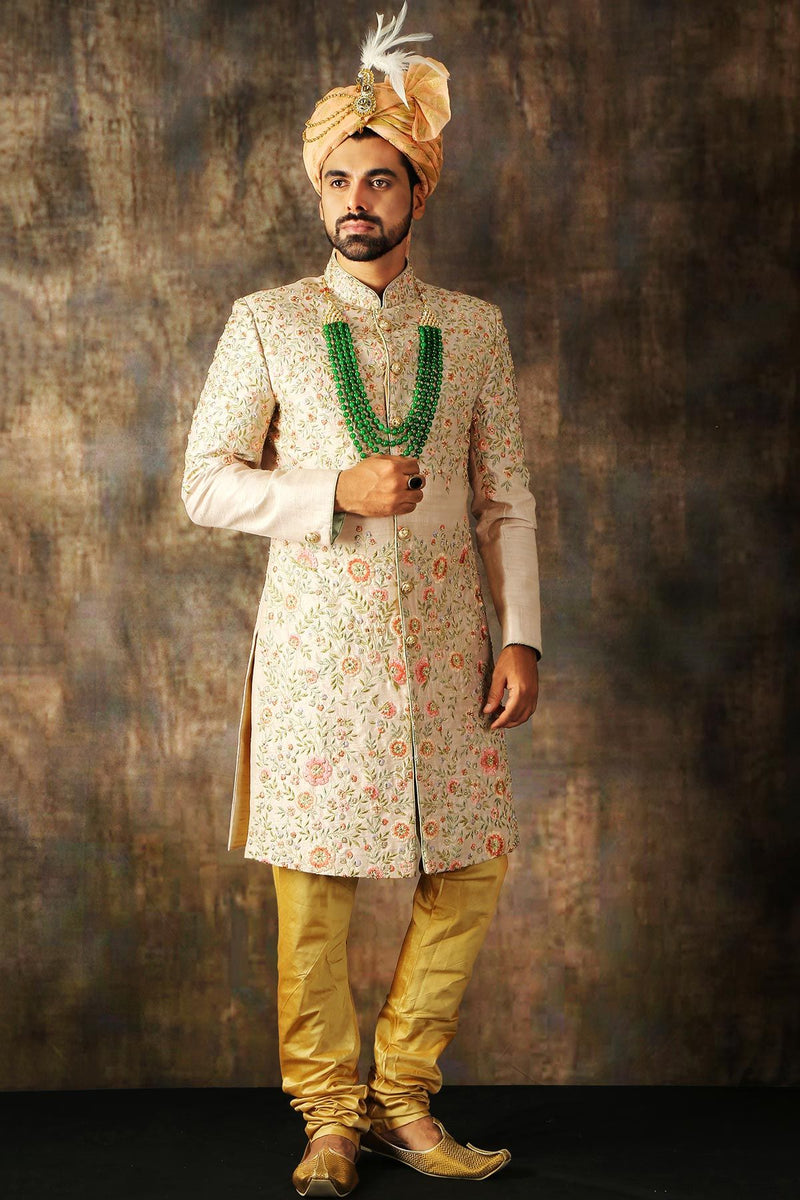 Pastel Pink Resham Embroidered Raw Silk Wedding Sherwani-STYLIZONE