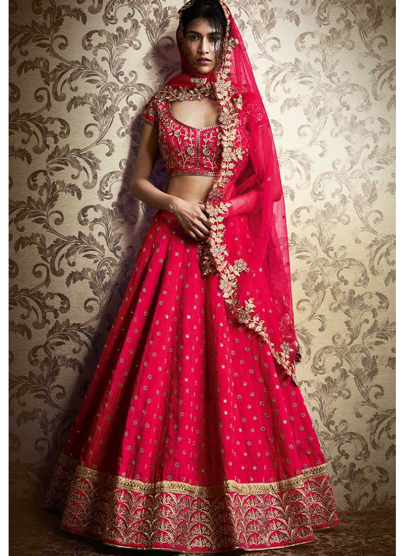 Exclusive Heavy Designer Beautiful Dark Pink Color Bridal Lehenga Choli - Stylizone