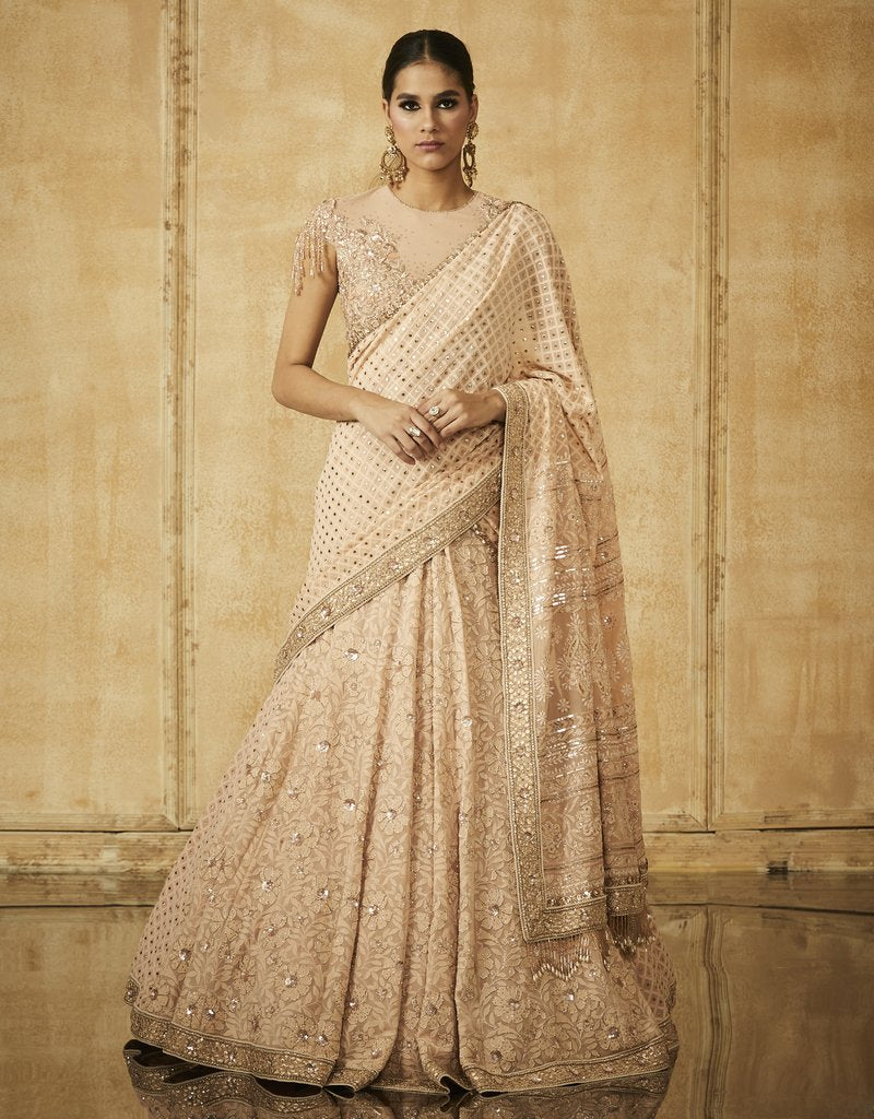 Chikankari Embroidered Kalidar Lehenga With Dupatta And Blouse
