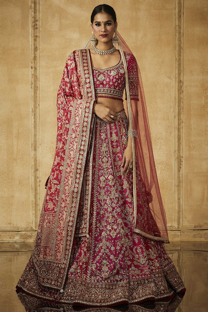 A101 Embroidered Kalidar Lehenga With Blouse, Dupatta And Veil-STYLIZONE