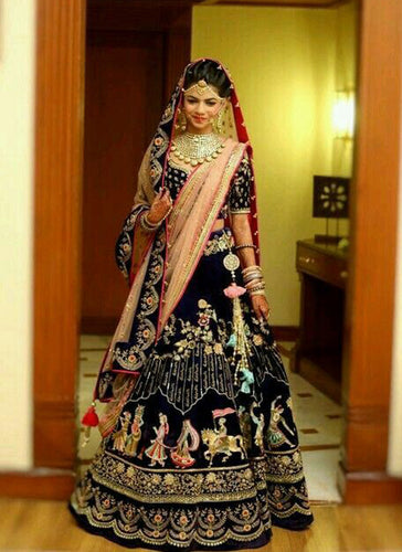 Exclusive Designer Royal Blue with Custom Names Bridal Lehenga Choli - Stylizone