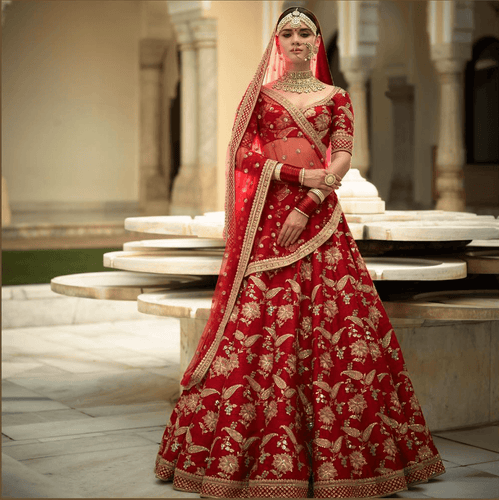 A111-Exclusive Heavy Designer Beautiful Bridal Red Color Bridal Lehenga Choli - Stylizone