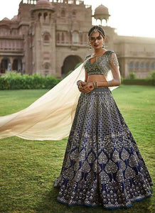 Exclusive Heavy Designer Beautiful Royal Blue Color Bridal Lehenga Choli - Stylizone