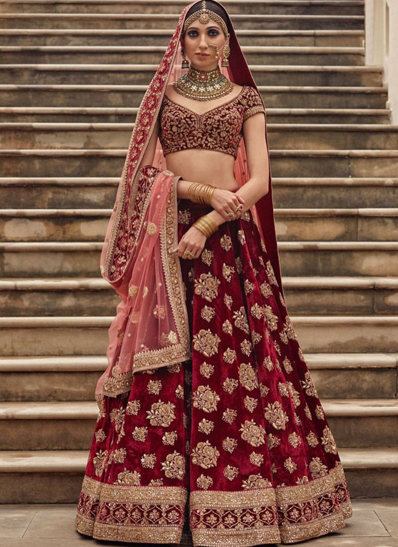 Exclusive Heavy Designer Beautiful Bridal Marron Color Floral Design Bridal Lehenga Choli - Stylizone
