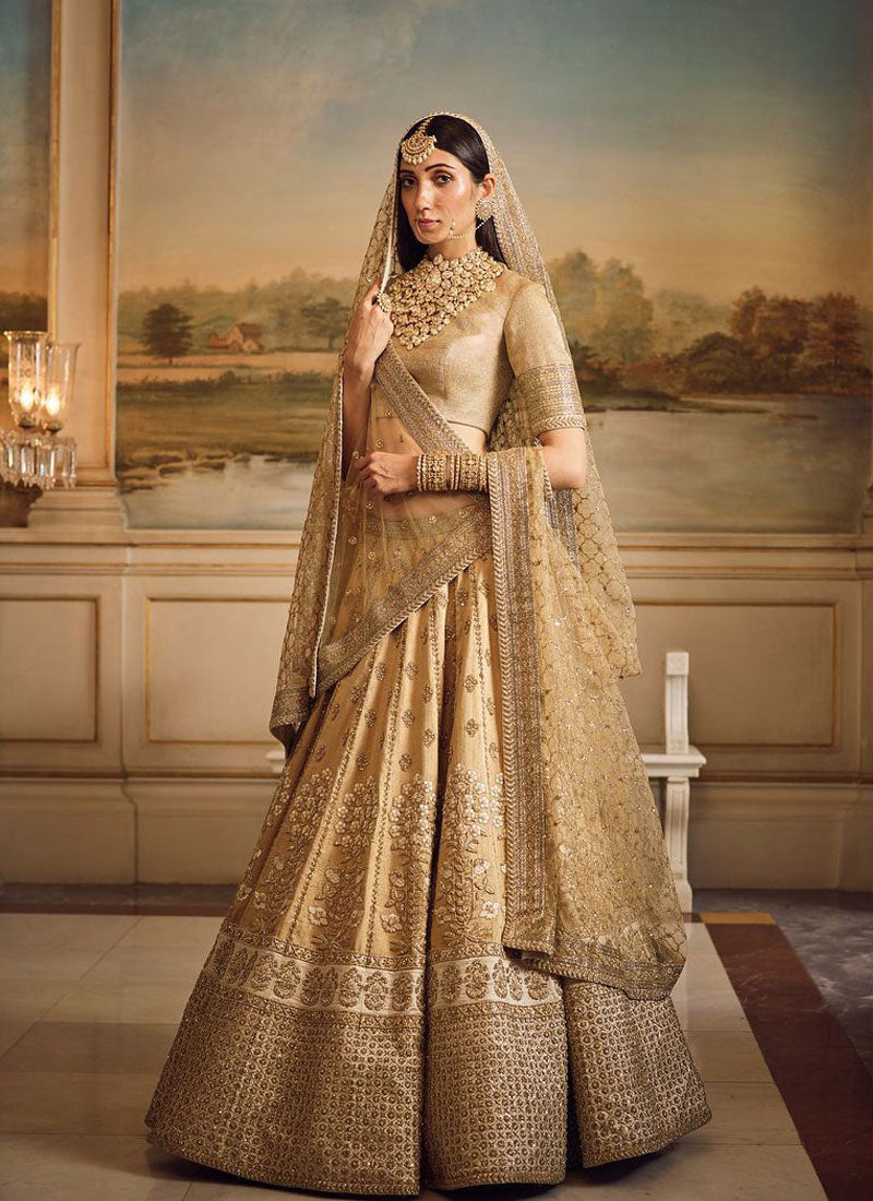 A139-Exclusive Heavy Designer Beautiful Beige Color Bridal Lehenga Choli - Stylizone
