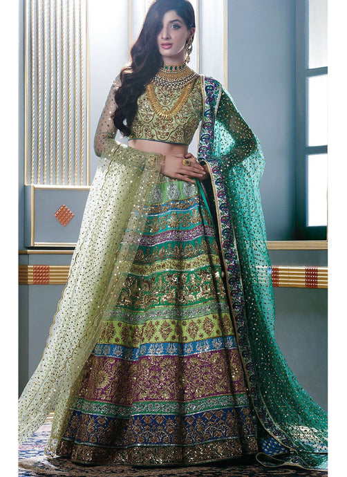 A107-Exclusive Heavy Designer Beautiful Multi Color Bridal Lehenga Choli - Stylizone