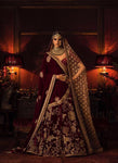 A103-Exclusive Heavy Designer Beautiful Maroon Color Bridal Lehenga Choli - Stylizone