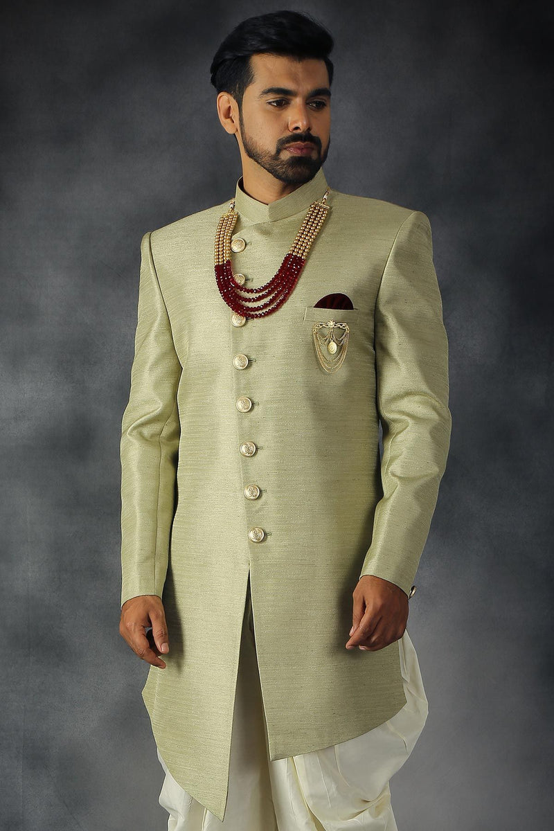 Light Pale Green Raw Silk Metal Embroidered Indowestern Sherwani-STYLIZONE
