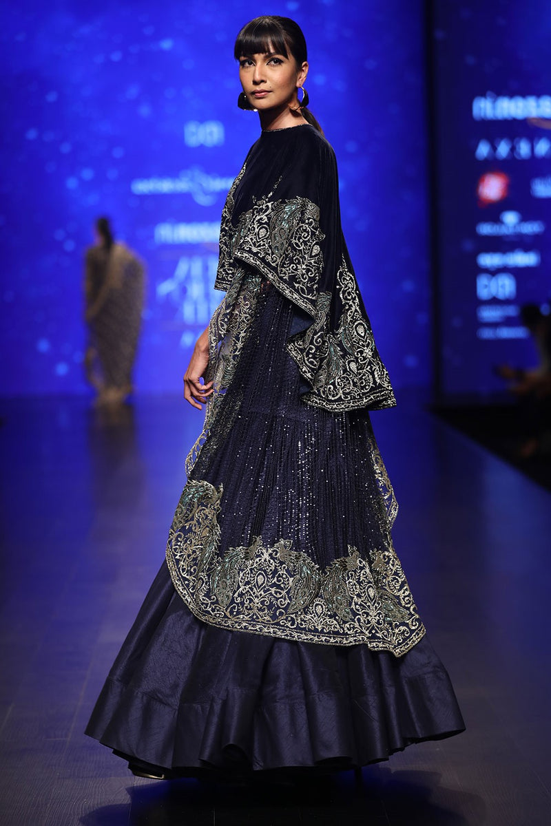 Exclusive Designer Blue cape and skirt set