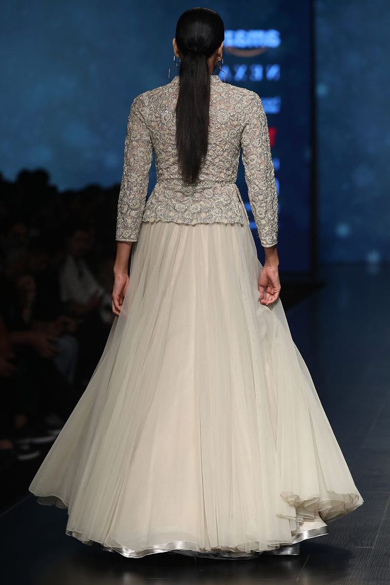 Exclusive Designer Pale beige lehenga skirt with beaded peplum