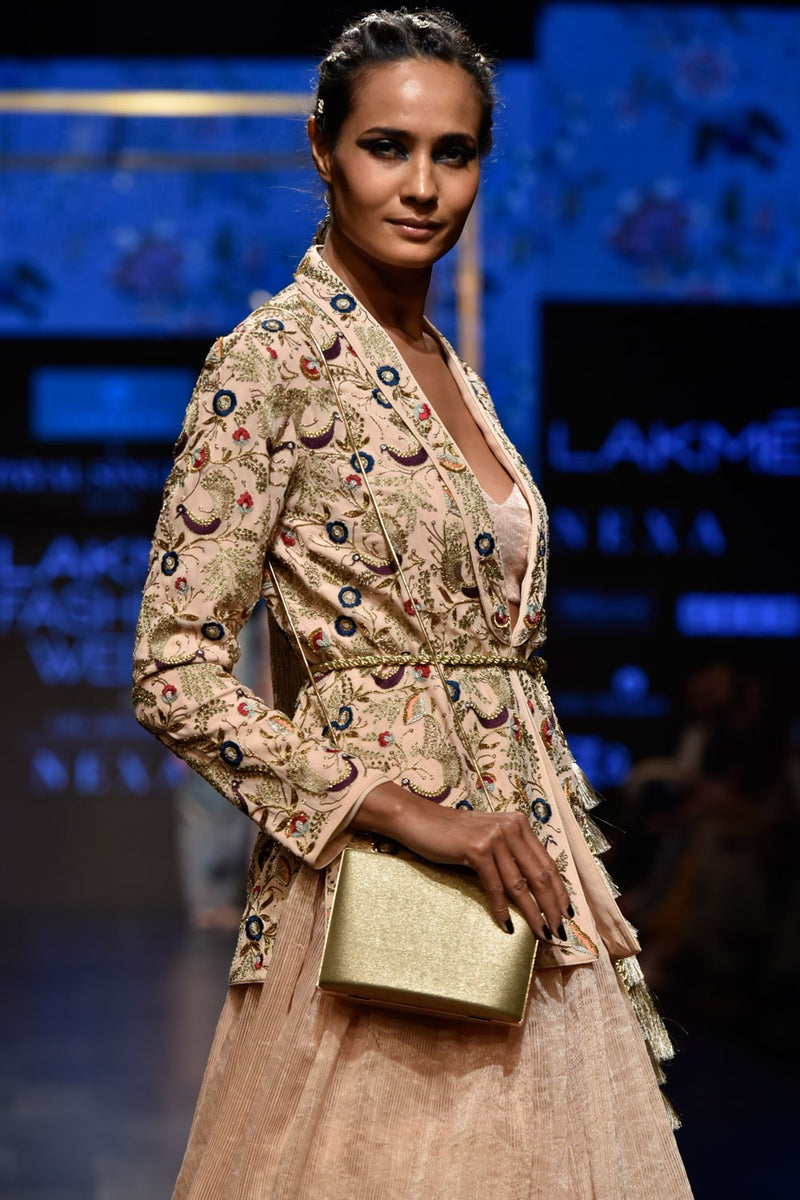Exclusive Designer Blush embroidered jacket with skirt set