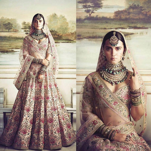 A110-Exclusive Heavy Designer Beautiful Cream Color Bridal Lehenga Choli - Stylizone